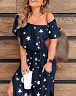 Star Printed Dress for Leisure Vacation