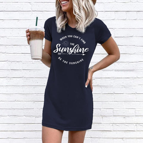 Sunshine Round Neck Short Sleeve Mini Dress