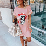 Casual Crew Neck Lip Dress