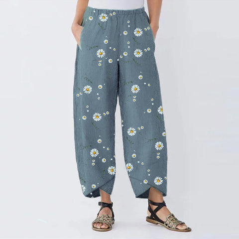 Cotton and Linen Daisy Vintage Printed Women's Cropped Pants
