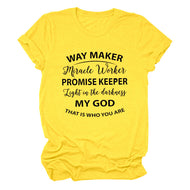 WAY MAKER Miracle Worker Alphabet Casual Short Sleeve