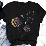 Colorful Dandelion Printed Short-sleeved T-shirt