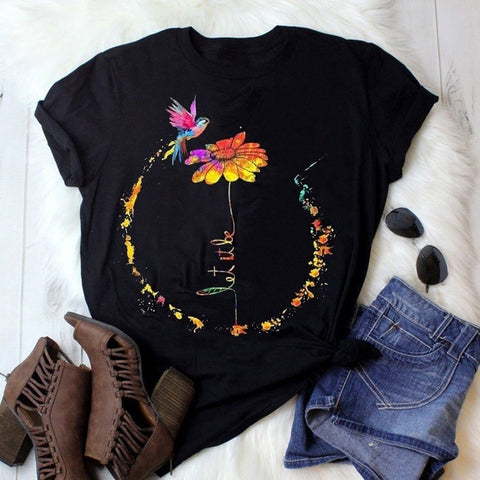 Fashion Floral Printed Short Sleeve T-Shirt