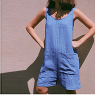Cotton and Linen Backstrap Button-down Jumpsuit