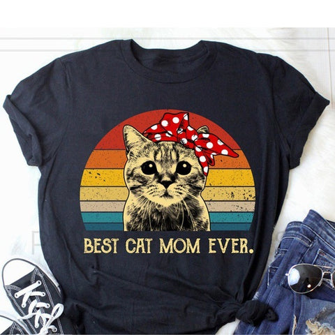 Short Sleeve T-shirt with Personality Cat Print