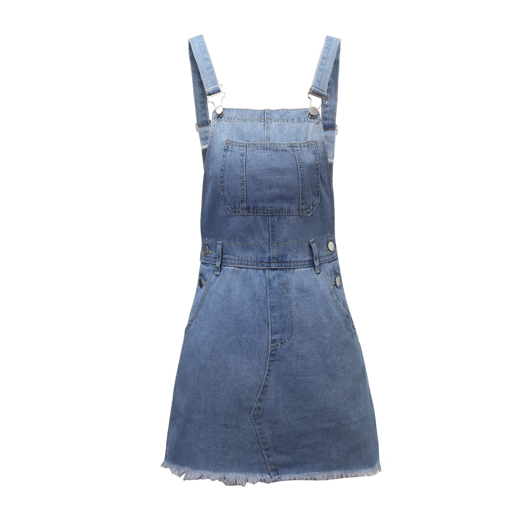 Fashionable Denim Half Dress Backstrap Dress