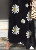 V-neck Short Sleeve Daisy Print Casual Dress