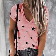 V-neck Star Short Sleeve T-shirt