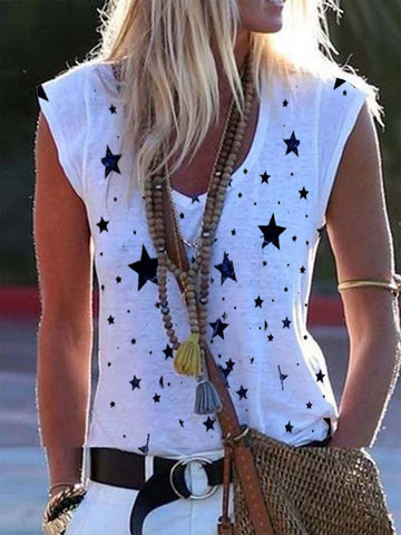 Star Print Sleeveless Vest