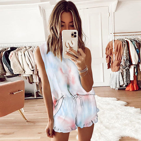 Tie-dye Casual Short Sleeve T-shirt Set