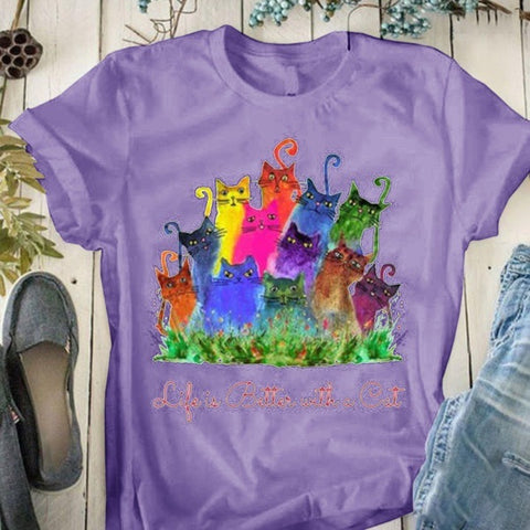Colored Kitty Pattern Printed Short-sleeved T Shirt