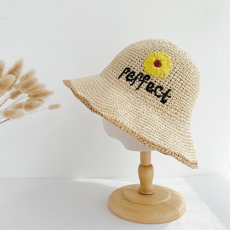 Sunflower Embroidered Straw Hat