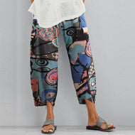 All-match Cotton and Linen Printed Trousers