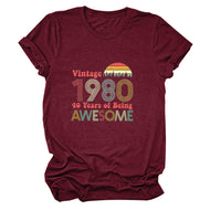 Vintage 1980 Awesome Alphabet Short Sleeve T-Shirt