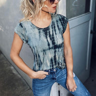 Crew Neck Tie-dye Bottom Shirt Short Sleeve T-shirt