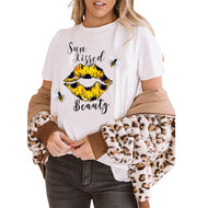 Bee Lips Printed Short Sleeve T-Shirt