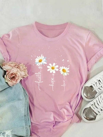 Creative English Little Daisy Print Ladies T-shirt