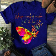 Creative Beautiful Butterfly Print Ladies T-shirt