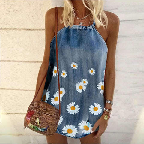 Casual Crew Neck Print Daisy Denim Top