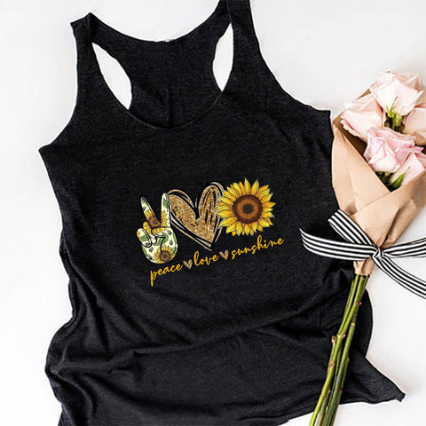 Fashion Vest Women Cartoon Sunflower Fresh Print