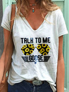 Casual V-neck Printed T-shirt-white Glasses Sunflower
