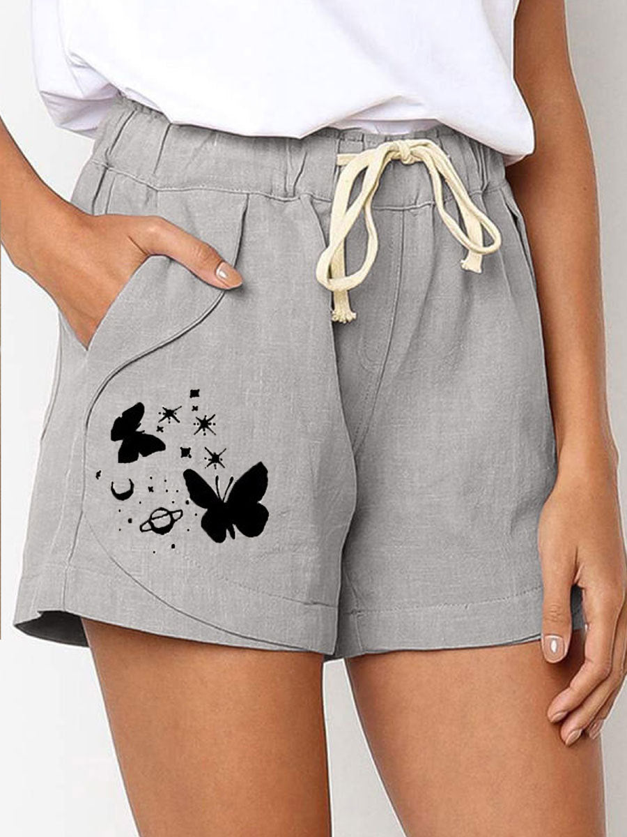 Butterfly Drawstring Elastic Waist Cotton and Linen Casual Shorts