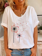 V-neck Print T-shirt-2 Loving Dandelions