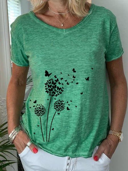 Dandelion Butterfly Casual V-neck Print T-shirt