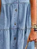 Denim Style Long Multi-buckle Distressed Dress