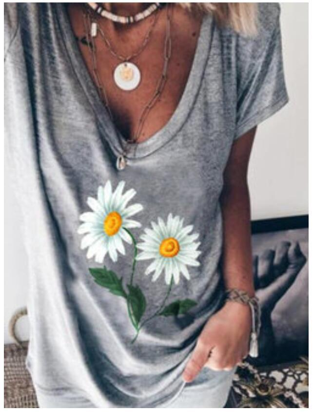 Fashion Casual V-neck Print T-shirt