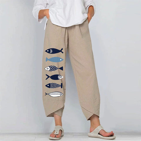 Cartoon Printed Loose Elastic Waist Nine-point Wide-leg Pants