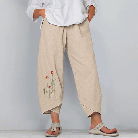 Printed Loose Elastic Waist Nine-point Wide-leg Pants