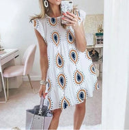 Round Neck Printed Short Dress