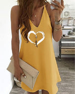 Love Print Strap V-neck Dress