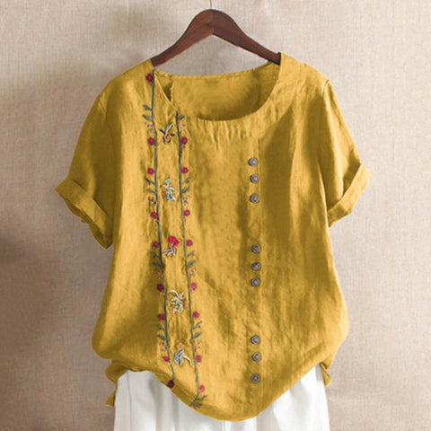 Vintage cotton and linen embroidery loose casual shirt