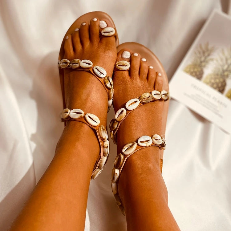 Ethnic Style Shell Pearl Mittens Sandals