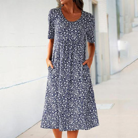 Round Neck Short Sleeve Floral Midi Dress