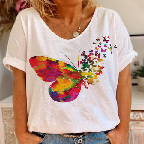 V-neck Print T-shirt-color Butterfly
