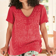 Lace Stitching Cotton and Linen Short Sleeve Top