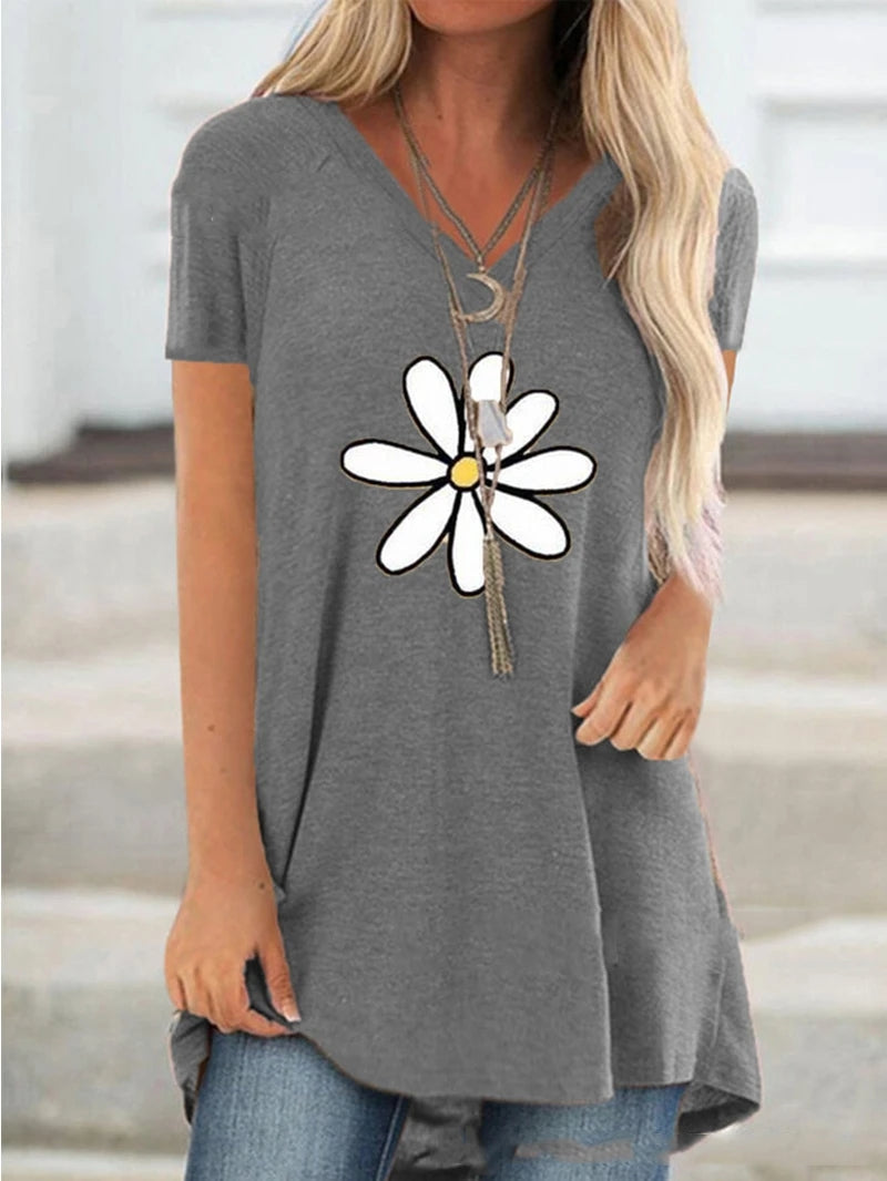 Floral Print Short Sleeve V-neck T-shirt