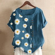 Daisy Printed Crew Neck Short Sleeve Loose Top