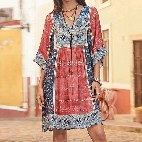 Fashion Bohemian Short Sleeve Print Dress