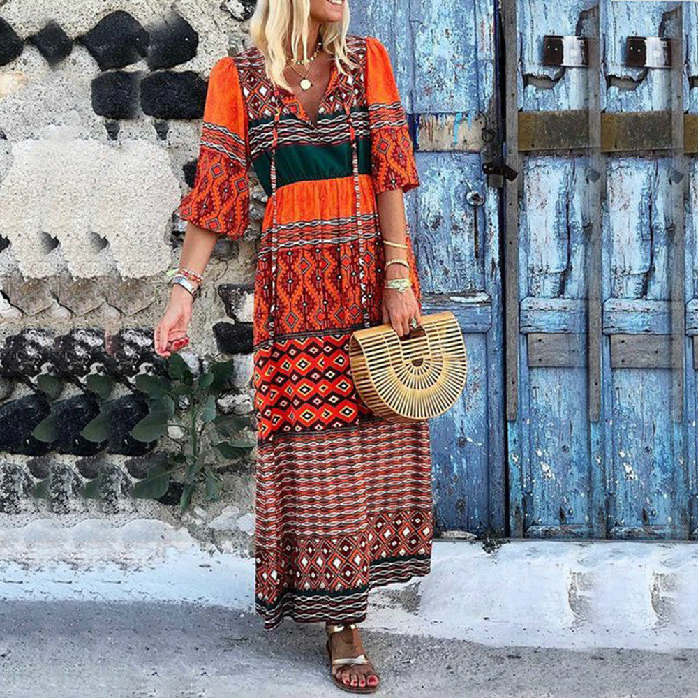 Stylish V-neck Bohemian Loose Print Dress