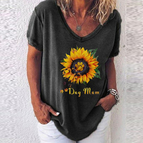 Sunflower Printed Short-sleeved V-neck Top