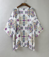 Chiffon Diamond Print Beach Sunscreen Cardigan