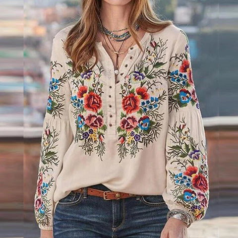 Fashion Ethnic Printed Long Sleeve Top