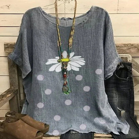 Small Daisy Polka Dot Casual Oversized T-shirt
