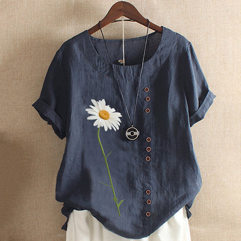 Daisy Flower Print Short Sleeve Round Neck Top
