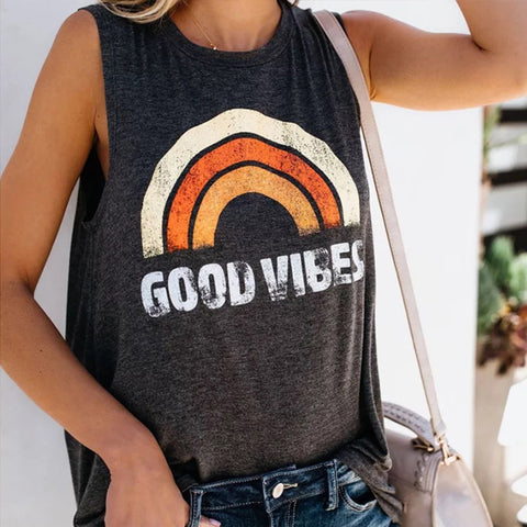 GOOD VIBES Letter Printed Round Neck Sleeveless T-shirt