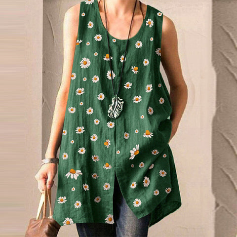 Small Daisy Print Sleeveless Loose Top